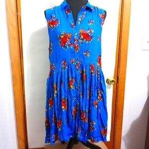 MinkPink Blue Floral Sleeveless Button Down Mini L